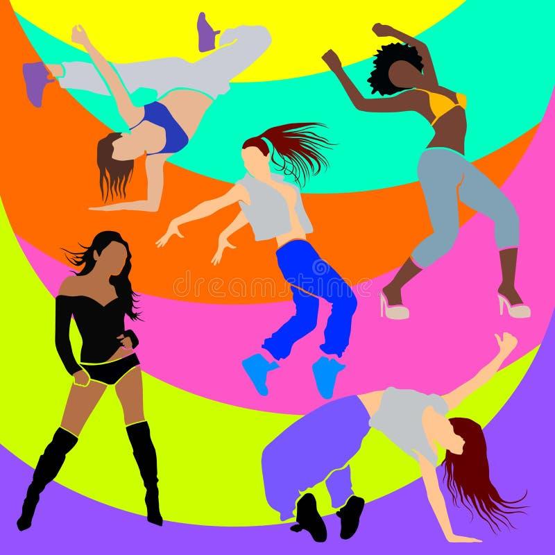 Clubbing atletico di clubbers del club del ballerino della ragazza illustrazione vettoriale