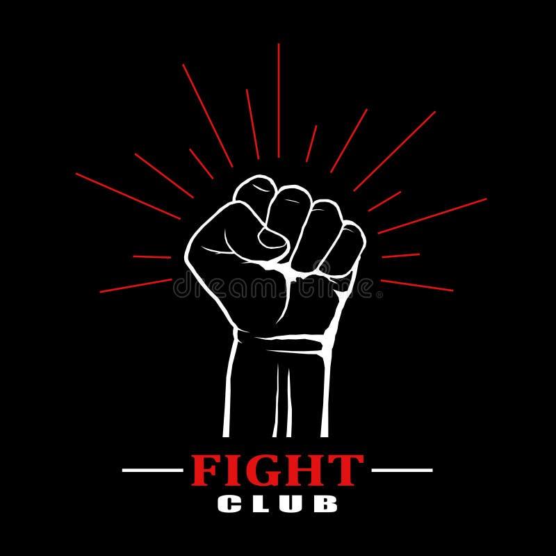 Clube da luta do punho no fundo preto ilustração stock