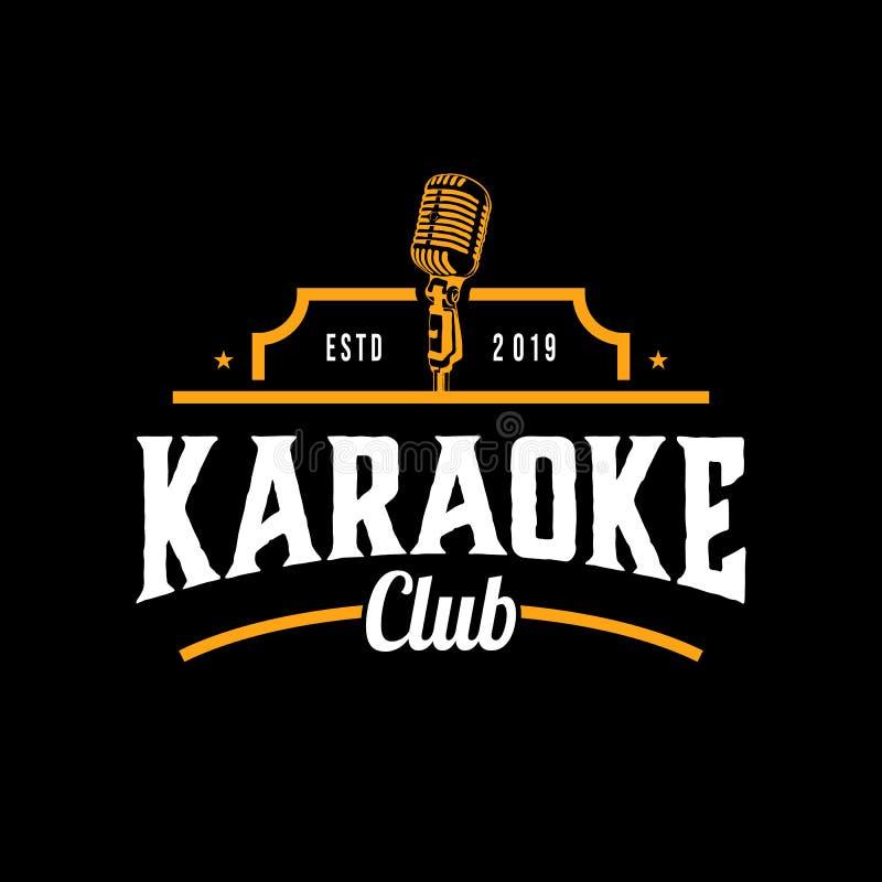 Clube da música do karaoke isolado no fundo escuro Elemento do projeto Molde para o logotipo, signage, projeto de marcagem com fe ilustração royalty free