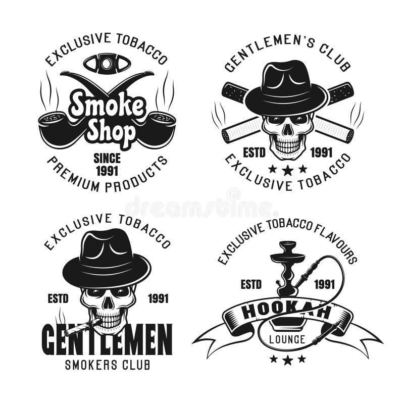 Clube de fumo, emblemas do vetor da sala de estar do cachimbo de água ilustração do vetor