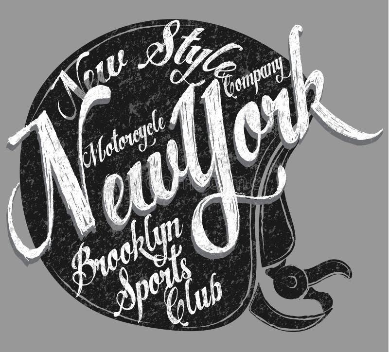 Clube desportivo de New York da tipografia do capacete da motocicleta ilustração stock