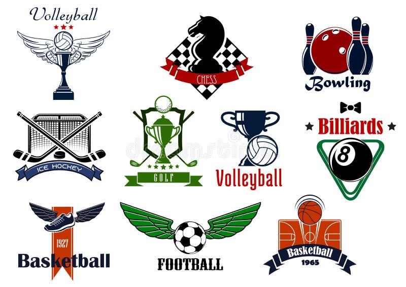 Clube desportivo ou emblemas e ícones da equipe ilustração stock