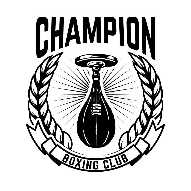 Clube do encaixotamento do campeão Molde do emblema com o saco de perfuração do pugilista Projete o elemento para o logotipo, eti ilustração do vetor