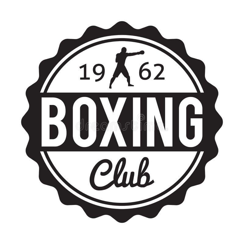 Clube do encaixotamento e etiqueta i do esporte do crachá do logotipo das artes marciais ilustração do vetor
