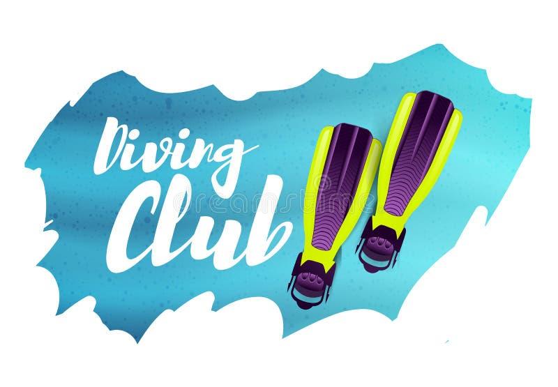 Clube do mergulho Ilustração do vetor com aletas ilustração royalty free