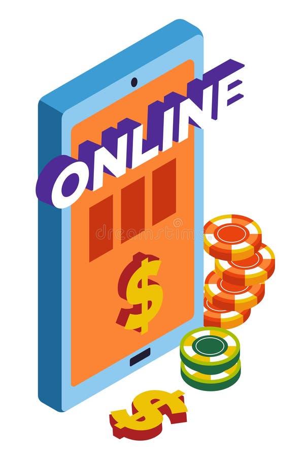 Clube em linha do casino, ícone isolado dos jogos de jogo, dispositivo móvel ilustração stock