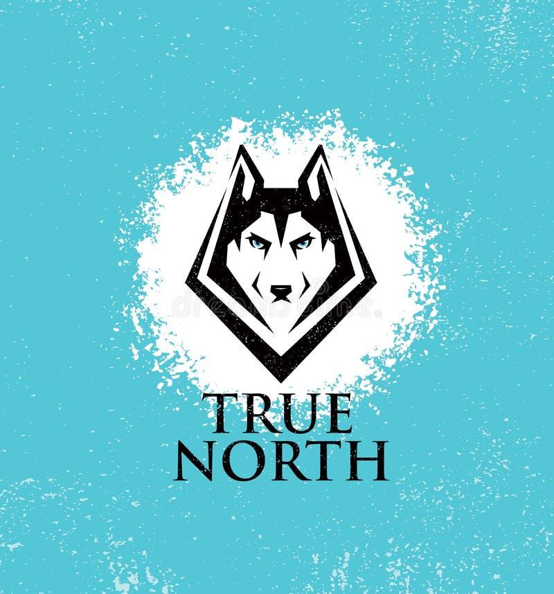 Clube exterior do estilo de vida ativo do norte verdadeiro Conceito do sinal de Husky Dog Face Illustration Strong no fundo ásper ilustração do vetor
