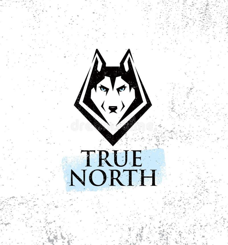 Clube exterior do estilo de vida ativo do norte verdadeiro Conceito do sinal de Husky Dog Face Illustration Strong no fundo ásper ilustração royalty free