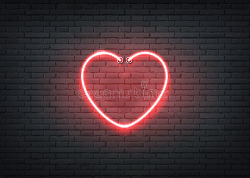 Clube noturno vermelho da barra do signage do coração de néon do vetor ilustração do vetor