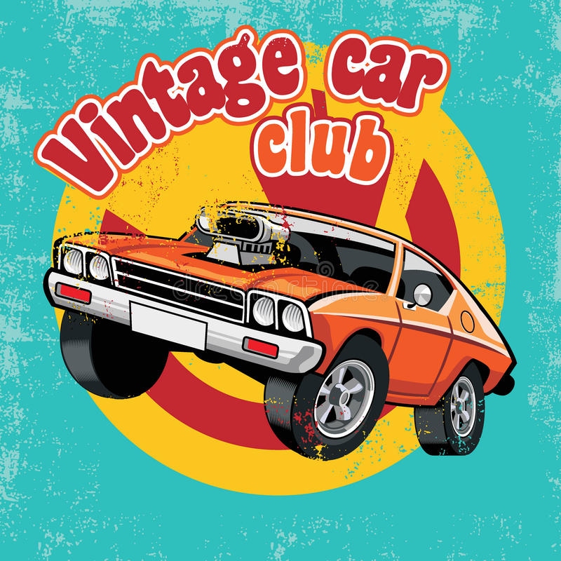 Clube retro do carro ilustração royalty free