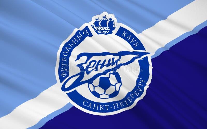 Clube Zenit do futebol de bandeira, Rússia ilustração royalty free