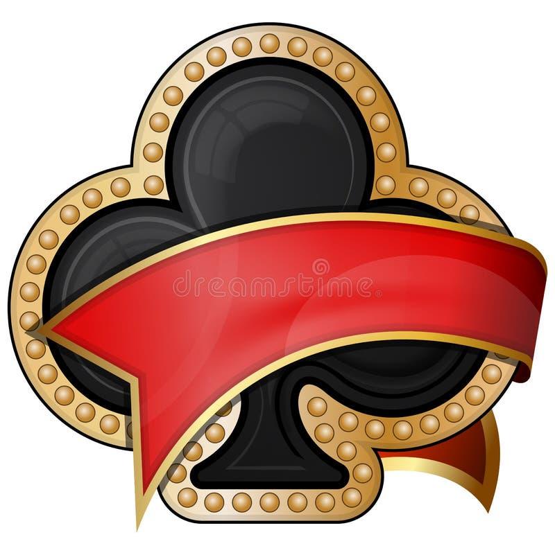 Clubes. ícones do terno do cartão com fita ilustração do vetor
