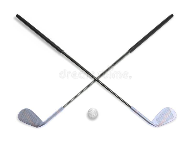 Clubes de golfe com rendição da bola 3d ilustração royalty free