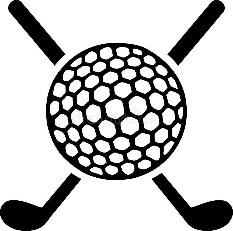 Clubes de golfe cruzados com bola ilustração do vetor