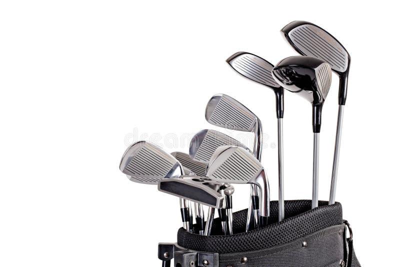 Clubes de golfe do saco no fim acima imagens de stock