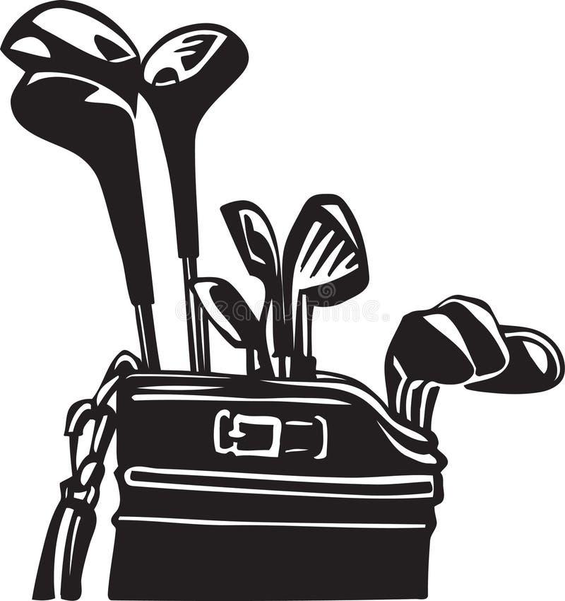 Clubes de golfe e ilustração preto e branco do saco ilustração stock