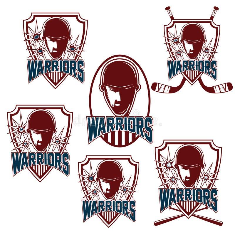 Clubes desportivos do vintage com cara do guerreiro ilustração do vetor