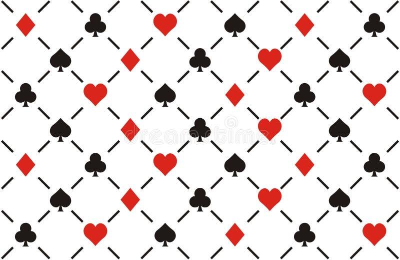 Clubes, diamantes, corações e patt sem emenda das pás ilustração do vetor
