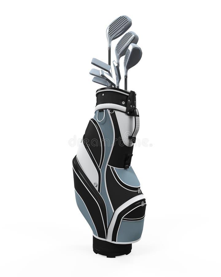 Clubes e saco de golfe ilustração do vetor