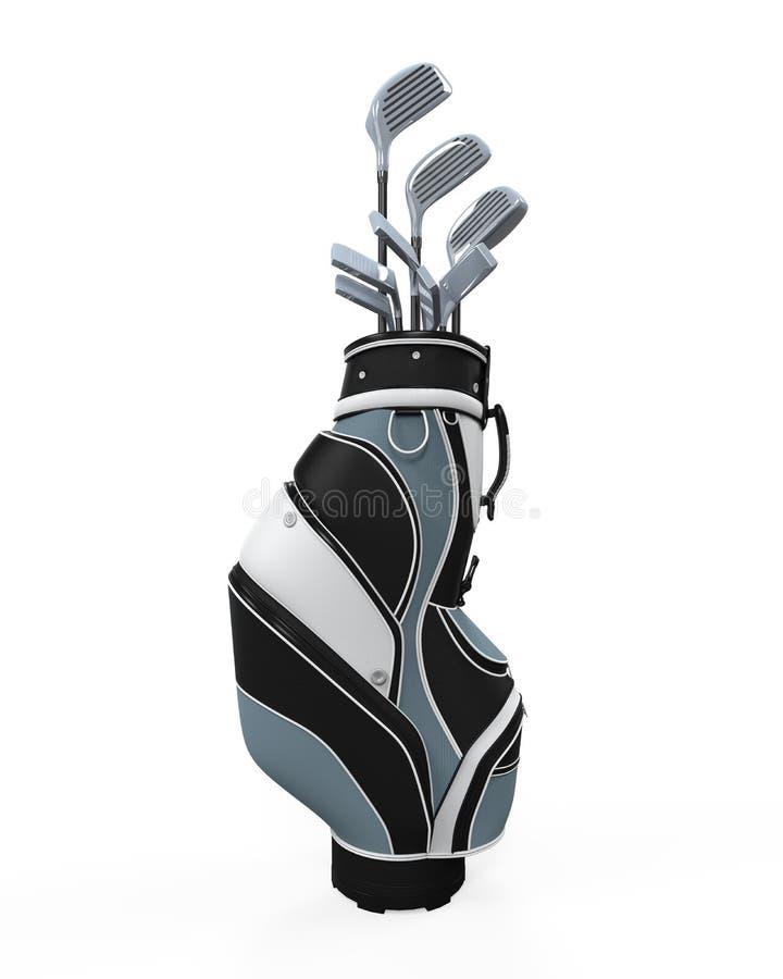 Clubes e saco de golfe ilustração royalty free
