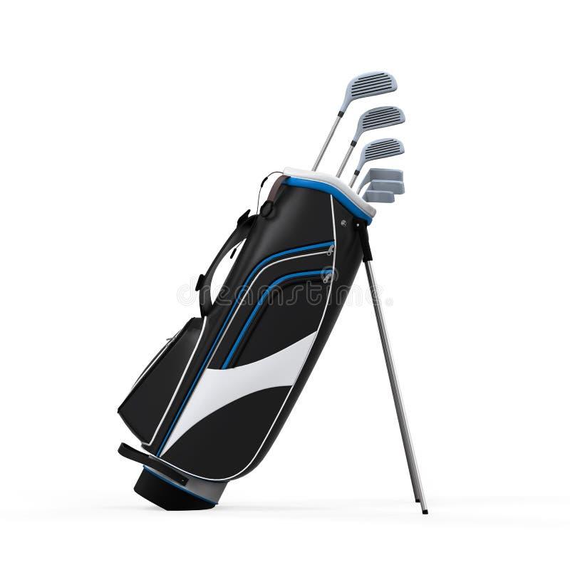 Clubes e saco de golfe isolados ilustração stock
