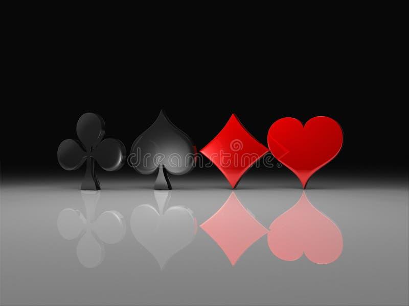 Clubs, cosses, coeurs et diamants illustration de vecteur