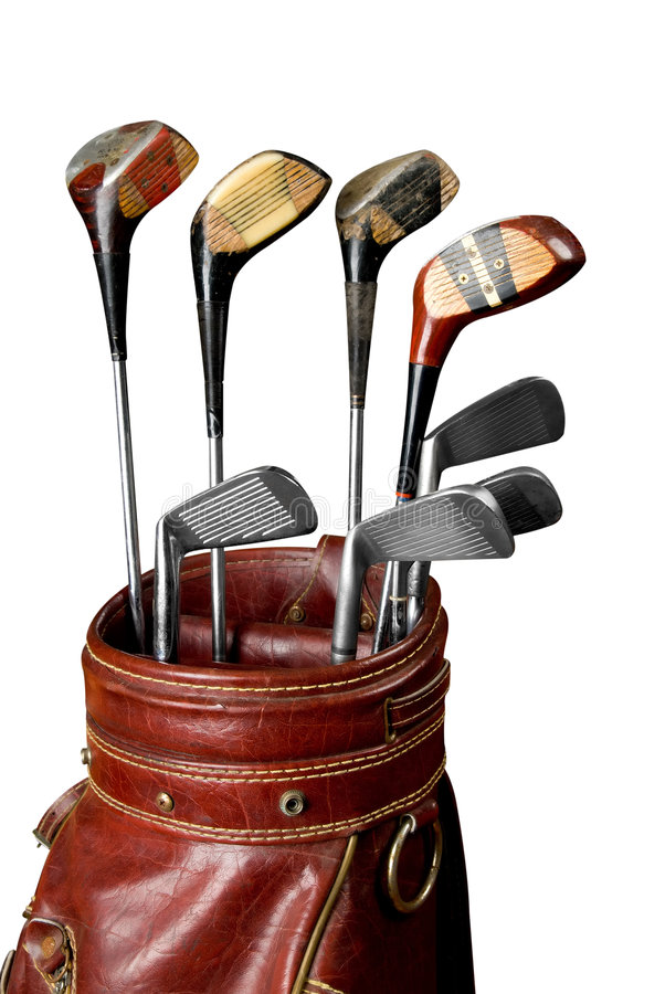 Clubs de golf de cru photographie stock libre de droits