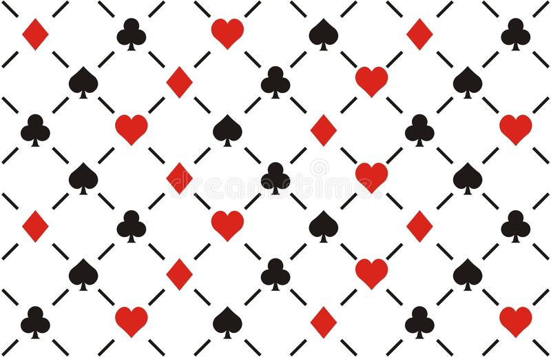 Clubs , diamonds , hearts and spades seamless patt. Ern, suitable for casino background vector illustration