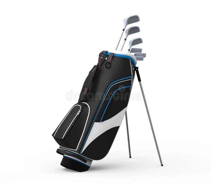 Clubs et sac de golf d'isolement sur le fond blanc photo libre de droits