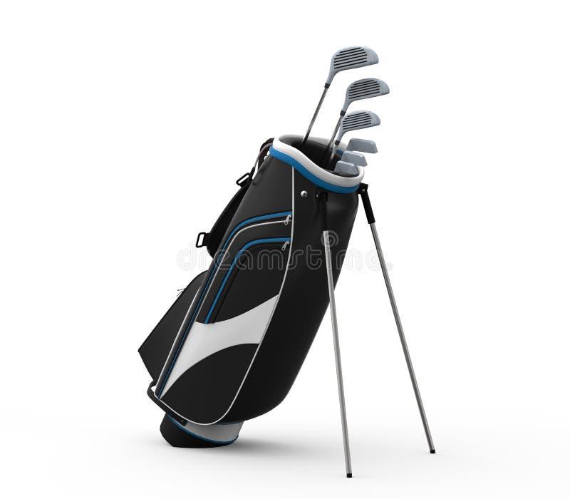 Clubs et sac de golf d'isolement sur le fond blanc illustration de vecteur