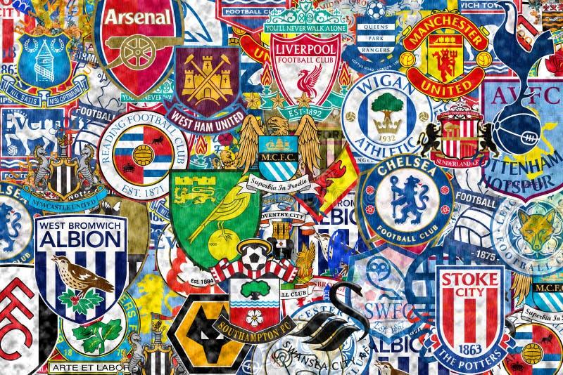 Clubs ingleses del balompié stock de ilustración