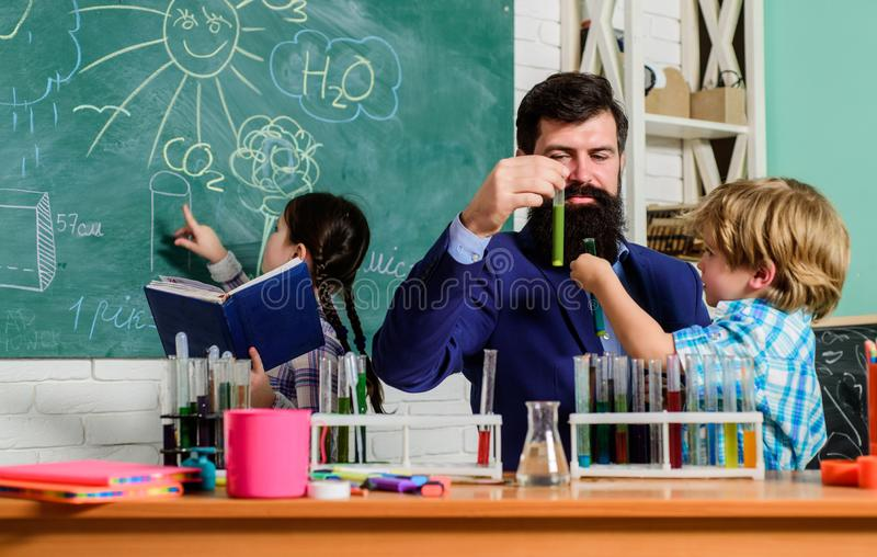 Clubs for preschoolers. After school clubs are great way to develop kids in different areas. Chemistry experiment royalty free stock photo