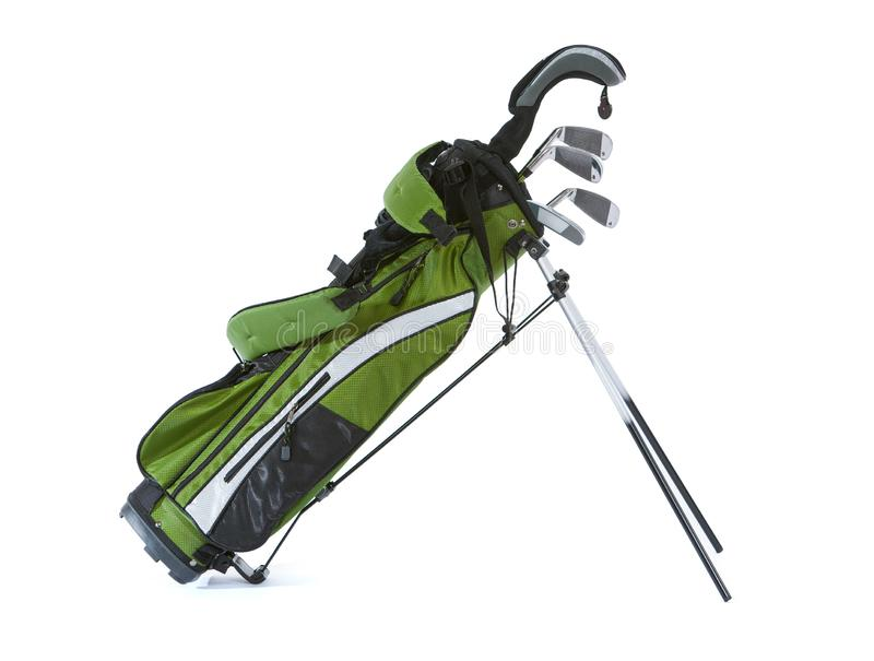 Clubs: Set Of Child`s Golf Clubs With Bag. Isolated on white bag of child sized golf clubs stock photos