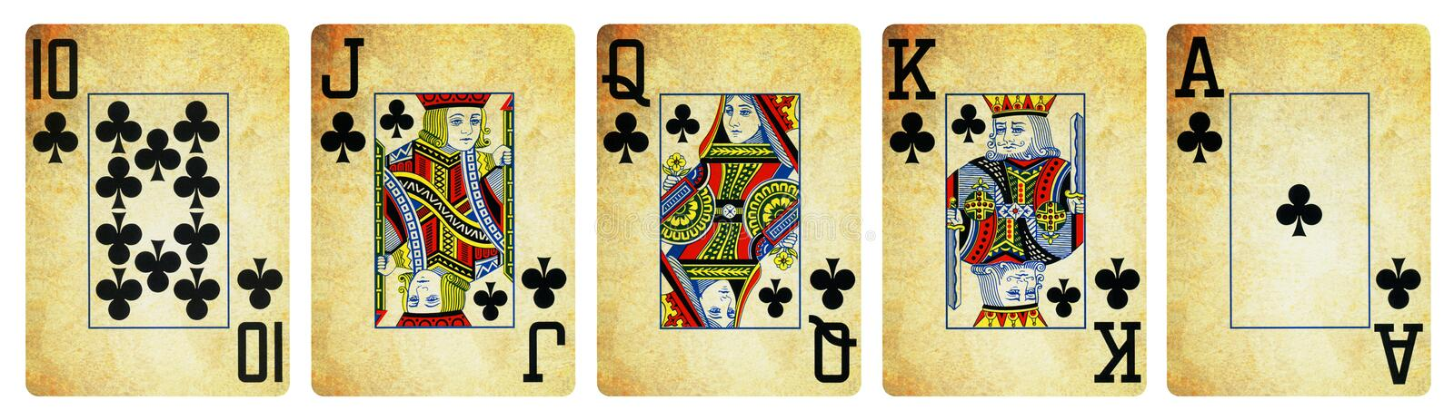 Clubs Suit Vintage Playing Cards - Isolated royalty free stock image