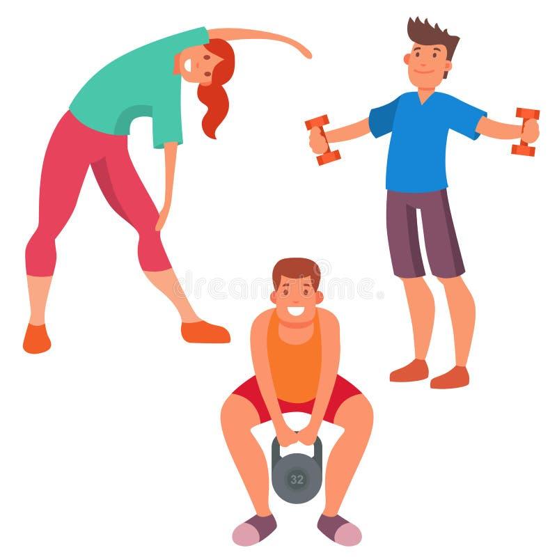 Clubvektorikonen athlet Charakter der Eignungsleuteturnhalle bearbeitet sportlicher und Sporttätigkeitskörper Wellnessdummkopfaus vektor abbildung