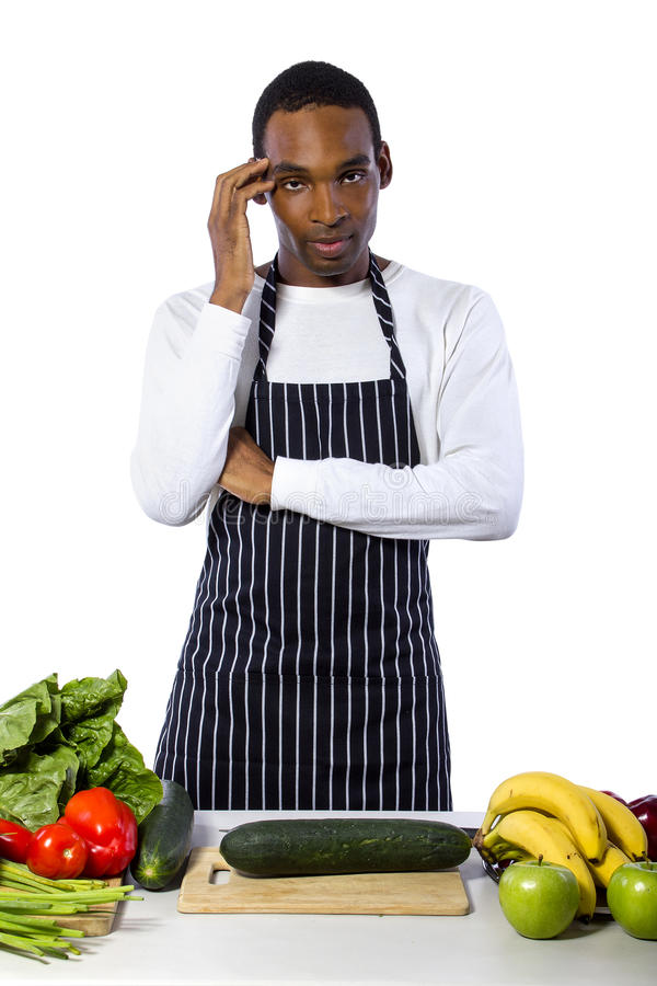 Clueless Male Chef on a White Background royalty free stock images