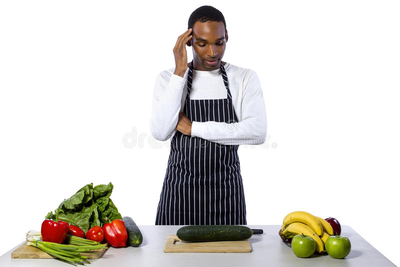 Clueless Male Chef on a White Background stock photography