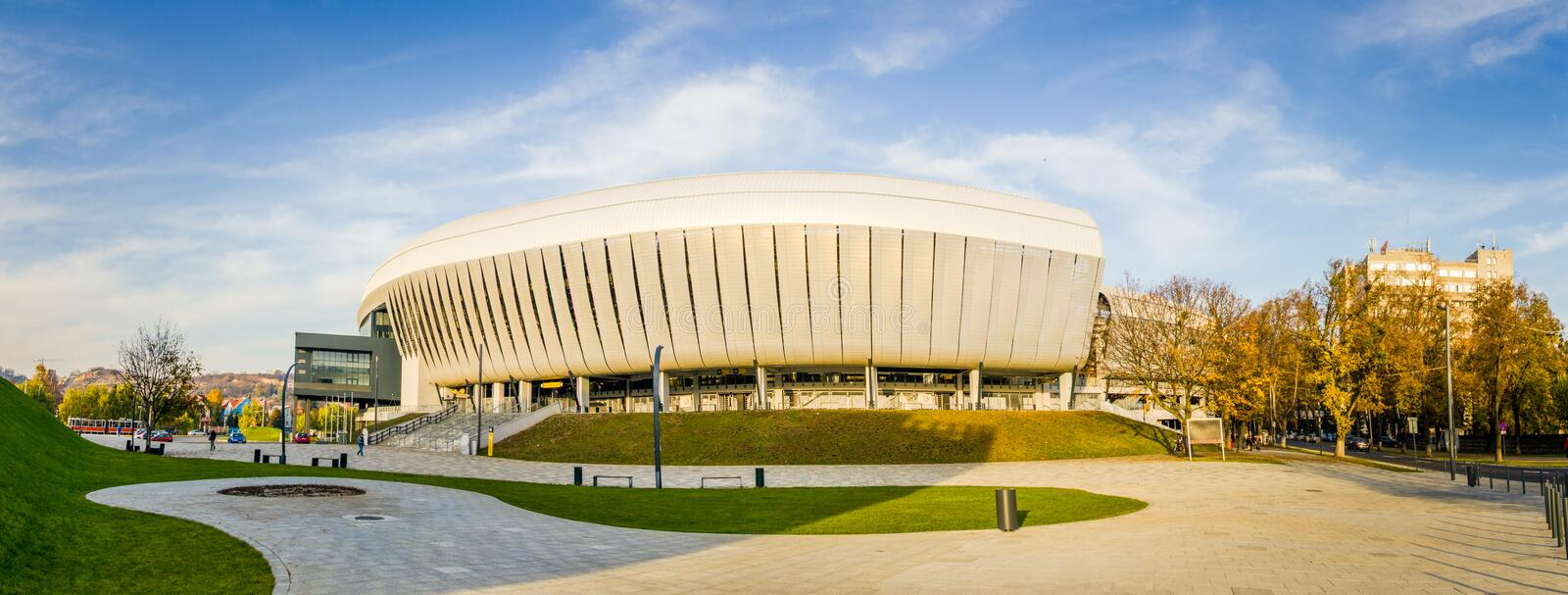 Cluj Arena stadium. NAPOCA, ROMANIA - 6 NOVEMBER 2014: Cluj Arena Stadium with a modern architecture recently built on a sunny autumn day in Cluj stock photos