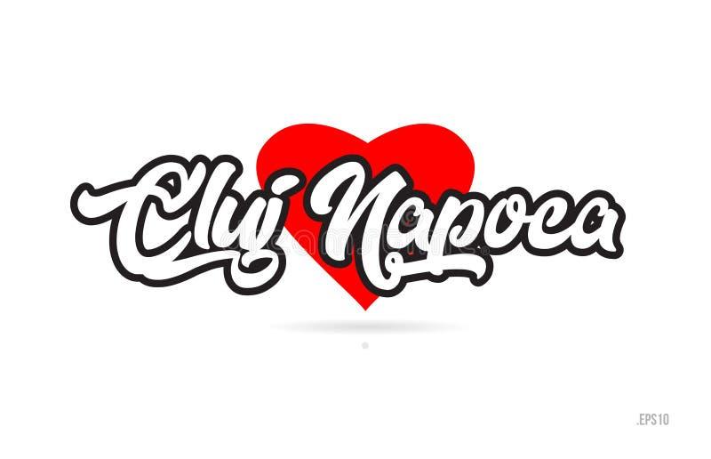 cluj napoca miasta projekta typografia z czerwonym kierowym ikona logem royalty ilustracja