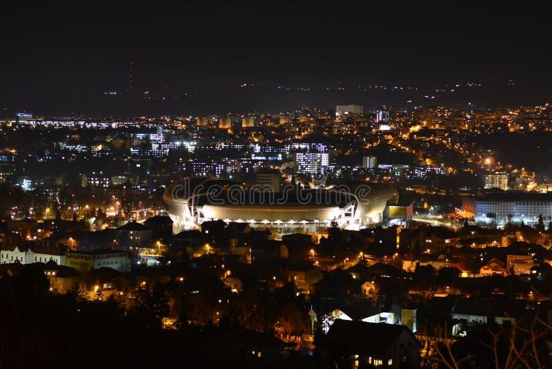 Cluj-Napoca nattlandskap royaltyfri fotografi