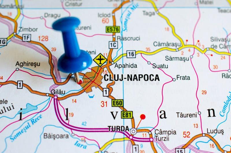 Cluj-Napoca no mapa fotografia de stock royalty free