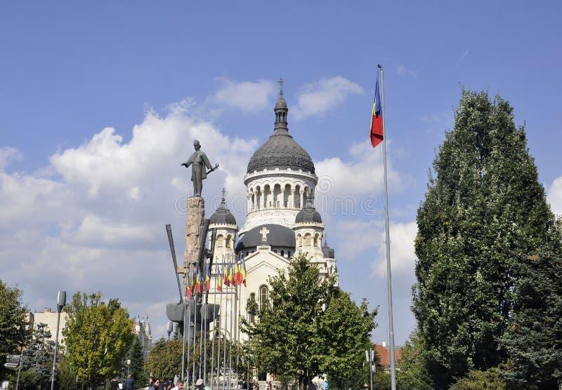 Cluj-Napoca RO, September 24th: Avram Iancu Monument in Cluj-Napoca from Transylvania region in Romania stock image