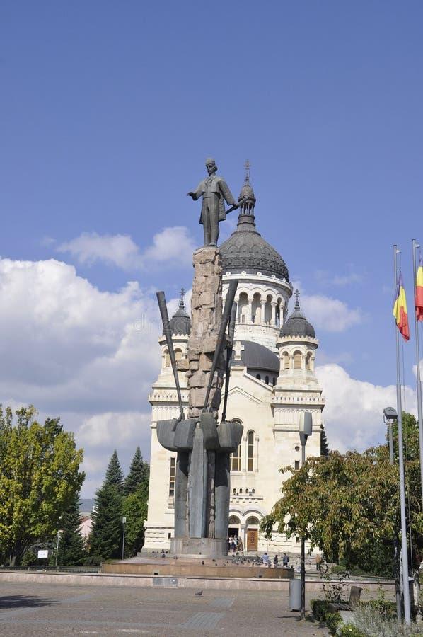 Cluj-Napoca RO, September 24th: Avram Iancu Monument in Cluj-Napoca from Transylvania region in Romania stock images