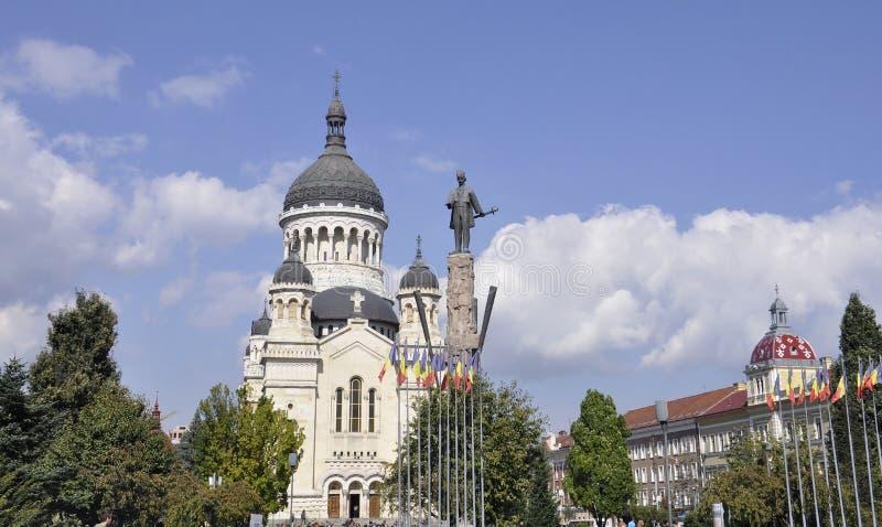 Cluj-Napoca RO, September 24th: Avram Iancu Monument in Cluj-Napoca from Transylvania region in Romania stock photography
