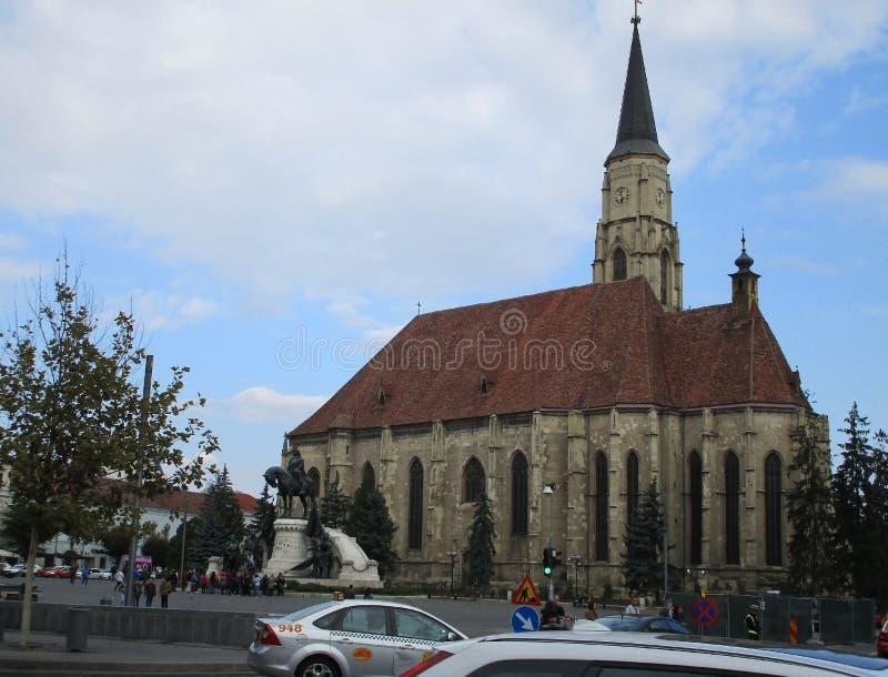 Cluj-Napoca RO, September 23th: Church St Michael downtown of Cluj-Napoca from Transylvania region in Romania stock photo