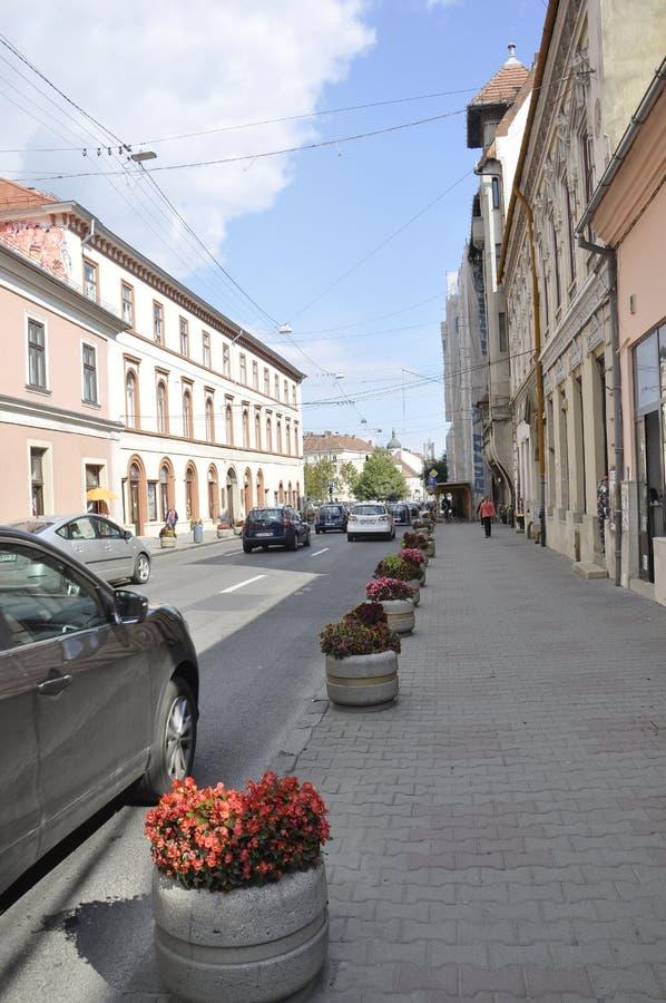 Cluj-Napoca RO, September 24th: Gatasikt i Cluj-Napoca från den Transylvania regionen i Rumänien arkivbild