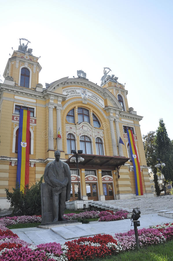 Cluj-Napoca RO, September 24th: Lucian Blaga Statue front the Theatre in Cluj-Napoca from Transylvania region in Romania royalty free stock images