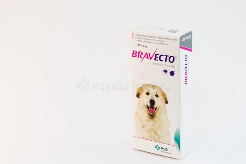 Cluj-Napoca/Roemenië-10 24 2019: Bravecto Chewable Tick & Flea Tablet stock afbeelding