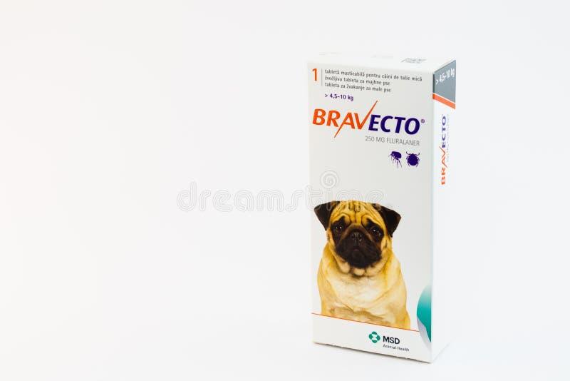 Cluj-Napoca/Roemenië-10 24 2019: Bravecto Chewable Tick & Flea Tablet stock afbeeldingen