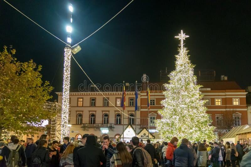 CLUJ-NAPOCA, ROMÊNIA - 23 DE NOVEMBRO DE 2018: Mercado no quadrado de Unirii, a Transilvânia do Natal, Romênia imagem de stock royalty free